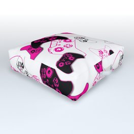 Video Game White & Pink Outdoor Floor Cushion