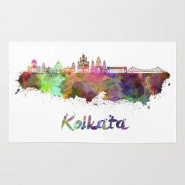 Kolkata skyline in watercolor Rug