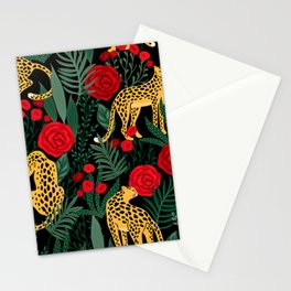 Brown Leopards Jungle leaves and red roses pattern Stationery Cards