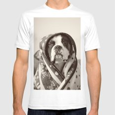 Obi Wan (Buck the world's most lovable boxer dog) MEDIUM White Mens Fitted Tee