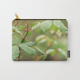Leaves of roses with drops of water Carry-All Pouch