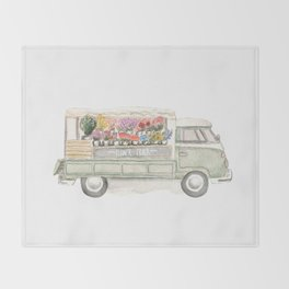 Flower Truck Watercolor Print Mint Throw Blanket