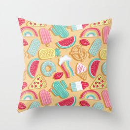 Epic pool floats top view // sand background Throw Pillow