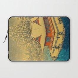 Vintage Japanese Woodblock Print Winter Red Pagoda Falling Show Blue Lake Laptop Sleeve