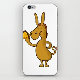 donkey with taco iPhone Skin