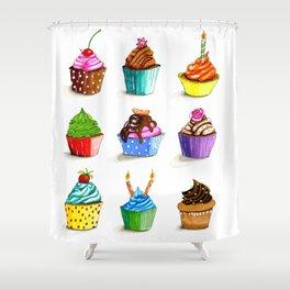 Illustration of tasty cupcakes Shower Curtain