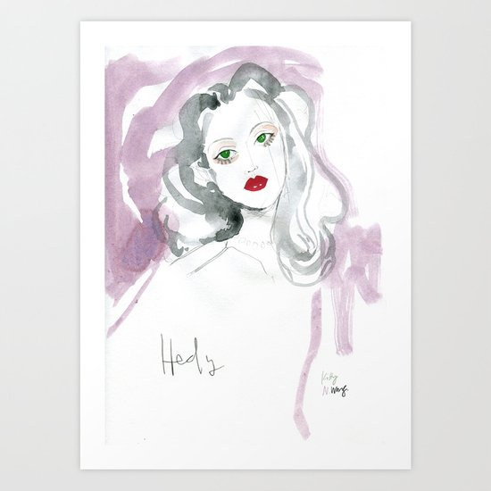 Hedy Lamarr in Watercolour Art Print
