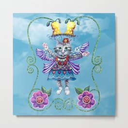 Angel Kitty (Turquoise) Metal Print