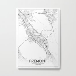 Minimal City Maps - Map Of Fremont, California, United States Metal Print