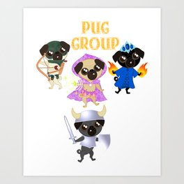 Pug Buddies. Pug Group. Art Print