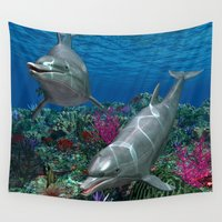 dolphins Wall Tapestries featuring Dolphins by Simone Gatterwe