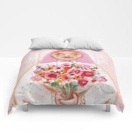 Matryoshka with flowers Comforters
