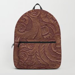 Chocolate Brown Tooled Leather Backpack
