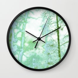 Magical forest in frosty greens Wall Clock