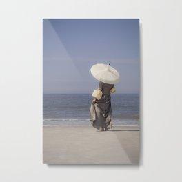 White Parasol II Metal Print