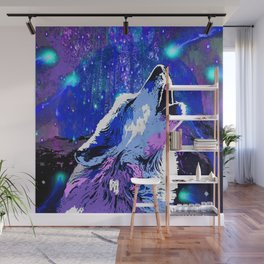 WOLF MOON AND SHOOTING STARS Wall Mural