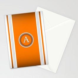 Monogram A - White and Orange Stationery Cards