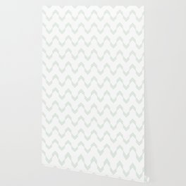 Deconstructed Chevron in Pastel Cactus Green on White Wallpaper