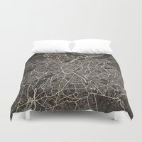 brussels Duvet Covers featuring brussels map ink lines by Les petites illustrations