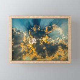 Sun Coming Through the Clouds Framed Mini Art Print
