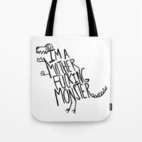 monster Tote Bags featuring  Monster by Leah Flores