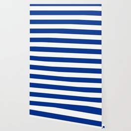 Air Force blue (USAF) -  solid color - white stripes pattern Wallpaper