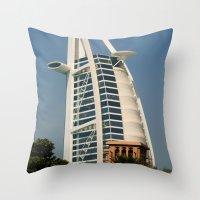 arab Throw Pillows featuring Dubai - Burj Al Arab by gdesai