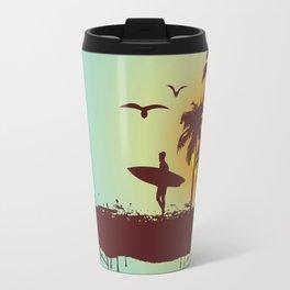 Sunny beach with palm surfer in Hawaii Travel Mug