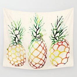 Burlap Pineapples Wall Tapestry