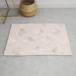 Modern Elegant Pale Pink Gold Geometric Rug