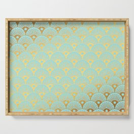 Art Deco Mermaid Scales Pattern on aqua turquoise with Gold foil effect Serving Tray