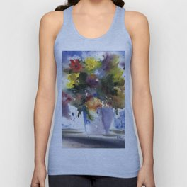 Spring Flowers in Blue Vase, original watercolor painting Unisex Tank Top