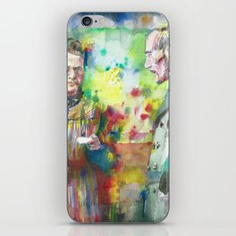 MARIE and PIERRE CURIE - watercolor portrait iPhone Skin