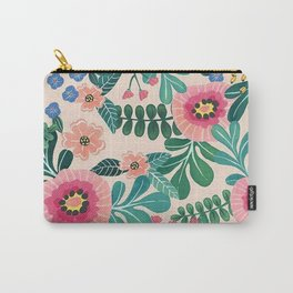 Colorful Tropical Vintage Flowers Abstract Carry-All Pouch
