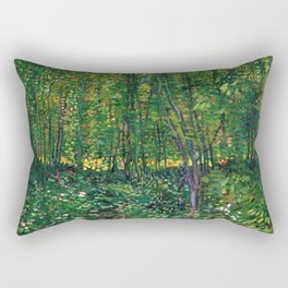 Brush and Underbrush flower and forest landscape by Vincent van Gogh Rectangular Pillow