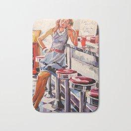 Girl In Vintage Retro Diner Bath Mat
