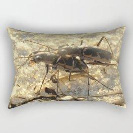 Watercolor Beetle, Common Shore Tiger Beetle 01, Janes Island, Maryland Rectangular Pillow