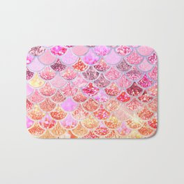 Rosegold & Gold Trendy Glitter Mermaid Scales Bath Mat