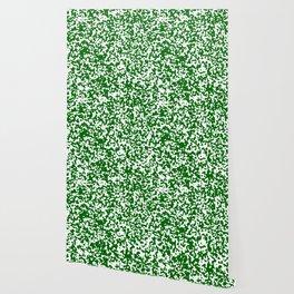 Small Spots - White and Dark Green Wallpaper
