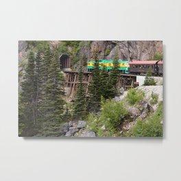 Train entering tunnel in Alaskan mountain Metal Print
