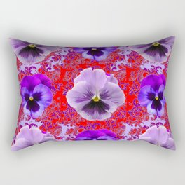 RED & PURPLE PANSIES GARDEN PATTERN Rectangular Pillow