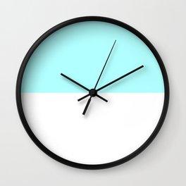 White and Celeste Cyan Horizontal Halves Wall Clock