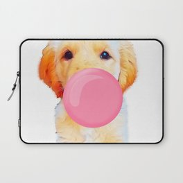 Cute golden retriever with chewing gum Laptop Sleeve