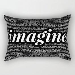 imagine - Ariana - imagination - lyrics - black white Rectangular Pillow
