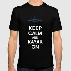 Keep Calm and Kayak On Mens Fitted Tee 2X-LARGE Black