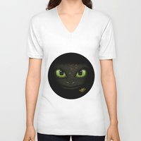 how to train your dragon V-neck T-shirts featuring Toothless - How to Train Your Dragon 2 by Rayyan