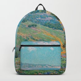 Malibu Coast, California with wild poppies floral seascape painting by Granville Redmond Backpack