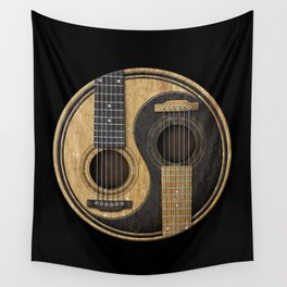Aged Vintage Acoustic Guitars Yin Yang Wall Tapestry