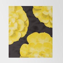 Large Yellow Succulent On Black Background #decor #society6 #buyart Throw Blanket