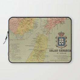 Vintage Map of The Canary Islands (1916) Laptop Sleeve